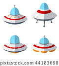 Set of colorful alien spaceships isolated on white 44183698