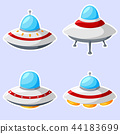 Set of colorful alien spaceships isolated on white 44183699