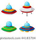 Set of colorful alien spaceships isolated on white 44183704