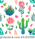 Garden with lotuses and cacti. 44183988