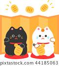 แมวกวักมือกวักมือและหน้าจอพับสีทอง 44185063