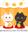 แมวกวักมือกวักมือและหน้าจอพับสีทอง 44185066