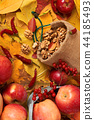 fruits and vegetables on autumn yellow leaves 44185493