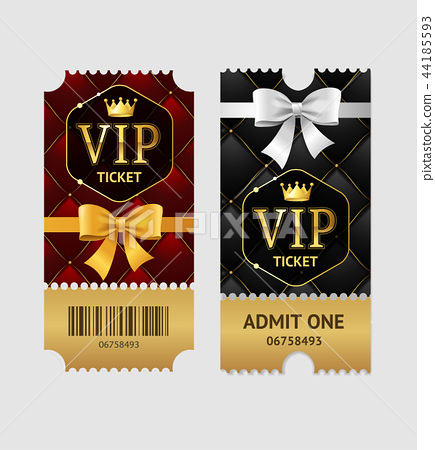 Realistic Detailed 3d Vip Tickets Set. Vector