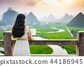 Girl reading book with nice view in the nature 44186945