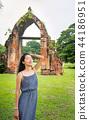 Portrait of woman in Ayutthaya ruins , Thailand 44186951