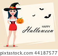 Happy Halloween. Greeting card with sexy witch 44187577