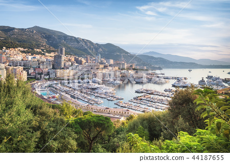 Monaco from above at sunrise on sunny summer day 44187655