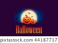 Halloween pumpkins under the moonlight 44187717