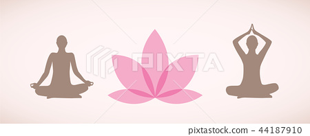 Silhouettes Of People Sitting In Yoga Pose For Stock Illustration 44187910 Pixta