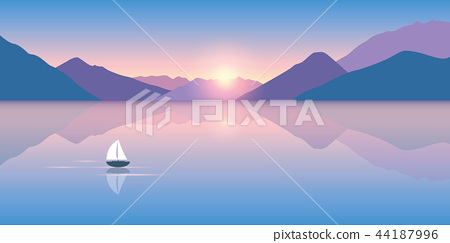 lonely sailboat on a calm sea with a beautiful mountain view at 44187996