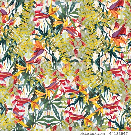 Tropical pictorial pattern. Oil painting on canvas. 44188647
