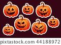 Halloween pumpkin icon. Flat style  44188972