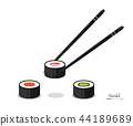 colorful sushi different types with chopsticks isolated on a white background 44189689