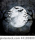 Halloween background with bats, full moon, trees 44189800