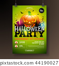 Halloween Party flyer vector illustration with scary faced pumpkin on green background. Holiday 44190027