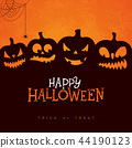 Happy Halloween banner illustration with scary faced pumpkins, spider and cobweb on orange 44190123