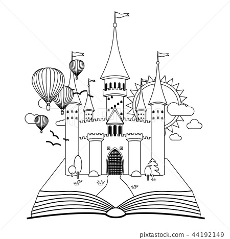 Fairy-tale castle on book coloring vector image 44192149