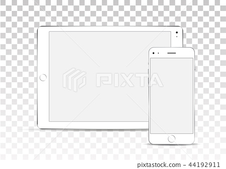 Vector mock up. Set of blank screens. White tablet and phone on transparent background. 44192911