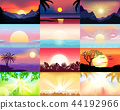 Sunset vector sunrise with Hawaii palms or mountain silhouette on backdrop illustration set of 44192966