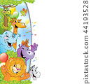 Cartoon cheerful animals, holiday background 44193528