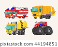 Funny cute hand drawn cartoon vehicles. Bright cartoon fire truck, fire engine, garbage truck 44194851