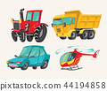 Funny cute hand drawn cartoon vehicles. Baby bright cartoon helicopter, big truck, car, and tractor 44194858