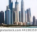 Skyscrapers on the beach in Dubai 44196359
