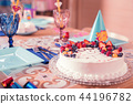 Close up of delicious cake decorated with fruit and berries 44196782