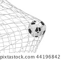 3d rendering of a football ball hitting the net inside the gate on white background. 44196842