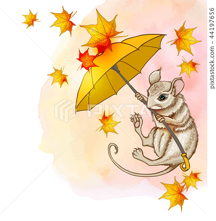 Cute little mouse flying on an umbrella 44197656