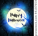 Halloween card with full moon and tree 44197659