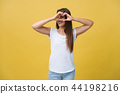 Healthy Eyes And Vision. Portrait Of Beautiful Happy Woman Holding Heart Shaped Hands Near Eyes 44198216