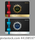 Gift card voucher with red and blue bow ribbon 44198597