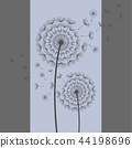 Two dandelions blowing on blue, grey background 44198696