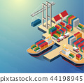 Aerial view of harbor waterfront and maritime terminal with container ship loading isometric poster 44198945
