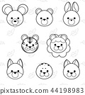 Line cute cartoon animals face icon set 44198983