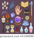 Fortune telling vector fortune-telling or fortunate magic of magician with tarot cards and candles 44198986