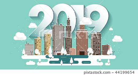 Vector illustration. 2019 winter urban landscape. City with snow. Christmas and new year. Cityscape 44199654