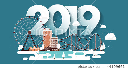 Vector illustration. 2019 winter urban landscape. City with snow. Christmas and new year. Cityscape 44199661