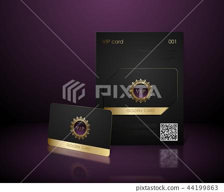 Vector black vip card presentation golden frame 44199863