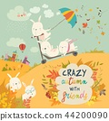 Cute crazy rabbits playing in autumn fall season 44200090