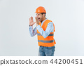 Angry builder or constructor yelling at somebody as fury concept isolated on white background with 44200451