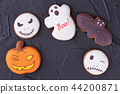 Various Halloween biscuits on black background. 44200871