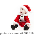 Santa Claus baby in red christmas clothes isolated on white 44201816