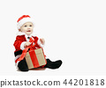Santa Claus baby in red christmas clothes with gift box isolated on white 44201818