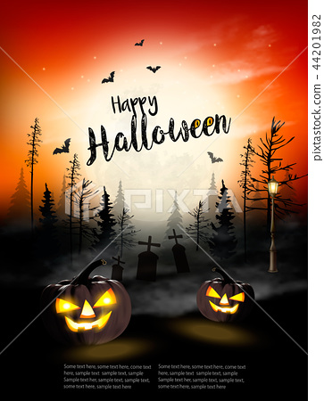 Holiday Halloween Spooky background. Vector 44201982