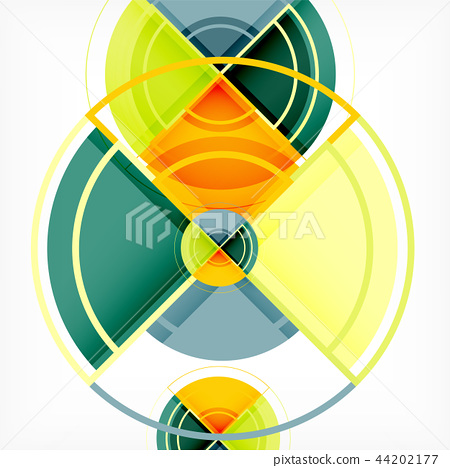 Creative circles geometric abstract background with 3d effect 44202177