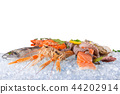 Fresh seafood on crushed ice. 44202914
