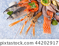 Fresh seafood on crushed ice. 44202917